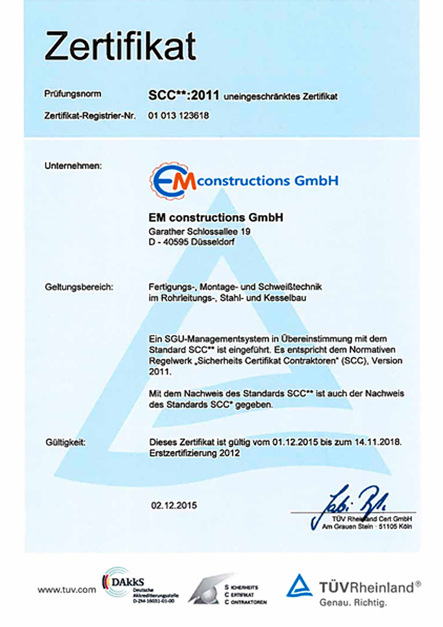 EM Constructions GmbH - Unternehmen